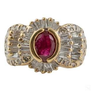 14K Gold Ladies Elegant Ruby & Diamond Ring Sz 6.5