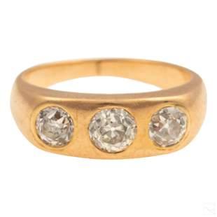 14K Gold .8 Carat TW 3 Stone Diamond Ring Size 4