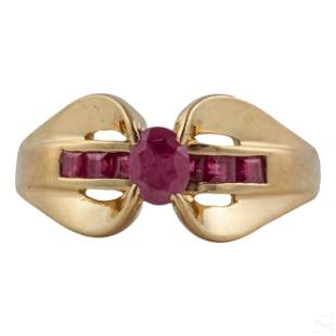 14K Gold Ladies Natural 1 CTTW Red Ruby Ring Sz 7