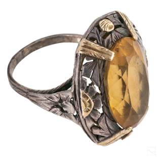 14K Gold Art Nouveau Sterling Silver Citrine Ring