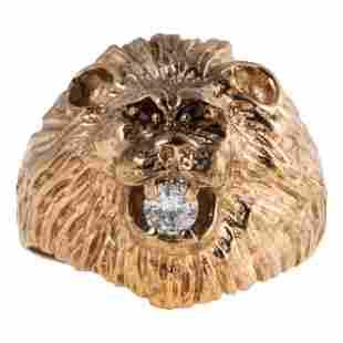 10K Gold .20 CT Diamond & Ruby Lion Head Ring Sz11