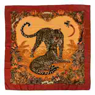 Hermes Paris Jungle Love Leopard Silk Scarf