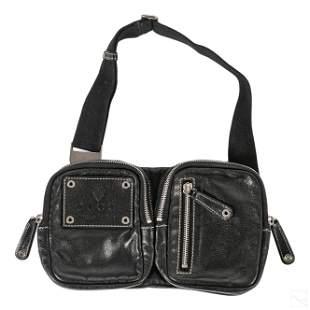 Gucci Black Leather Italian Multi Pouch Waist Bag