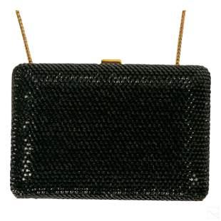 Judith Leiber Black Rhinestone Evening Clutch Bag