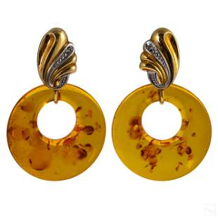 14K Gold Diamond and Amber Two Tone Post Earrings