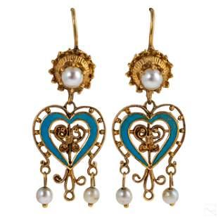 14K Gold Victorian Pearl and Enamel Heart Earrings