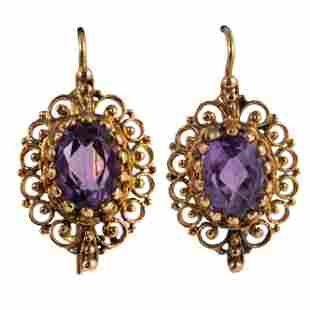 14K Gold French Antique 2.5 CTTW Amethyst Earrings