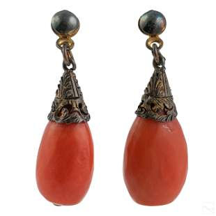 Italian Silver and Natural Red Coral Drop Earrings
