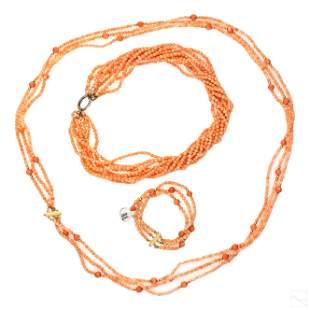 14K Gold Natural Italian Coral Necklaces, Bracelet
