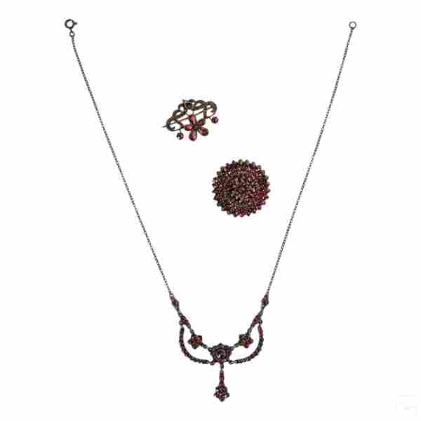 Bohemian Garnet Silver Brooches & Necklace LOT