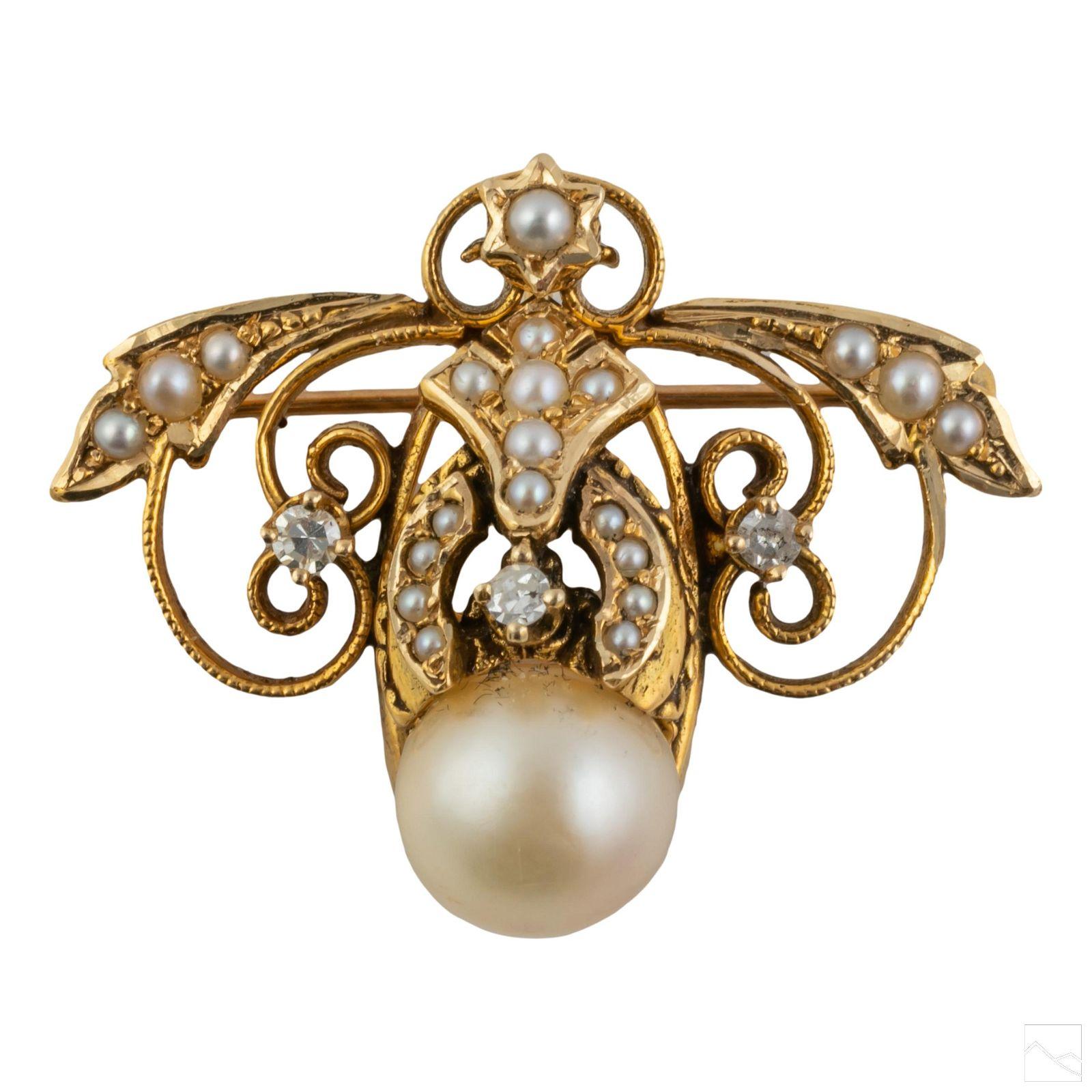 14K Gold Antique Diamond Pearl Bee Brooch Pendant