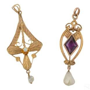 14K Gold Antique and Art Nouveau Jewelry Pendants