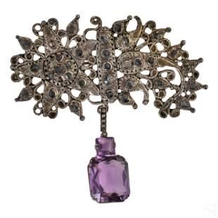 Bohemian Antique Diamond & Amethyst Silver Brooch