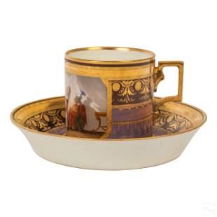 Royal Vienna Antique Porcelain Tea Cup, Saucer Set