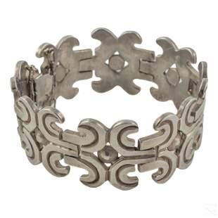"Los Ballesteros Sterling Silver Modern 7"" Bracelet"