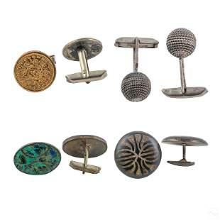 Sterling Silver Modern Tribal Geometric Cufflinks