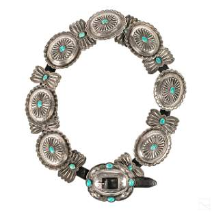 Native American Navajo Sterling Silver Concho Belt