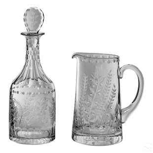 William Yeoward English Crystal Pitcher & Decanter