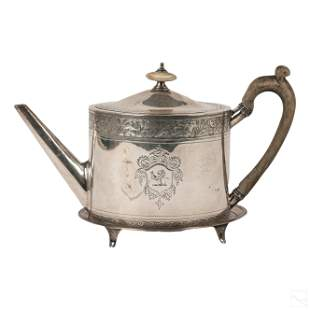 Georgian English Sterling Silver Teapot with Stand