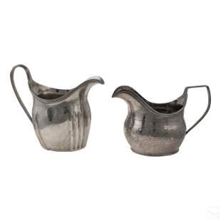 English Sterling Silver Antique Milk & Cream Jugs