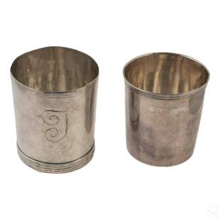 19th Century Antique Sterling Silver Drinking Cups