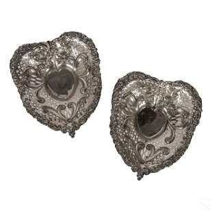 Gorham Antique Sterling Silver Heart Baskets 539g.