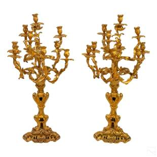 Pair of French Dore Bronze Nine Light Candelabras