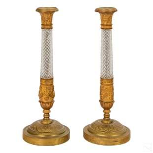 Austrian Antique Cut Crystal & Bronze Candlesticks