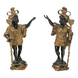 Orientalist Nubian Torchiere Candlestick Holders