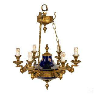 French Six Light Empire Style Blue Gold Chandelier