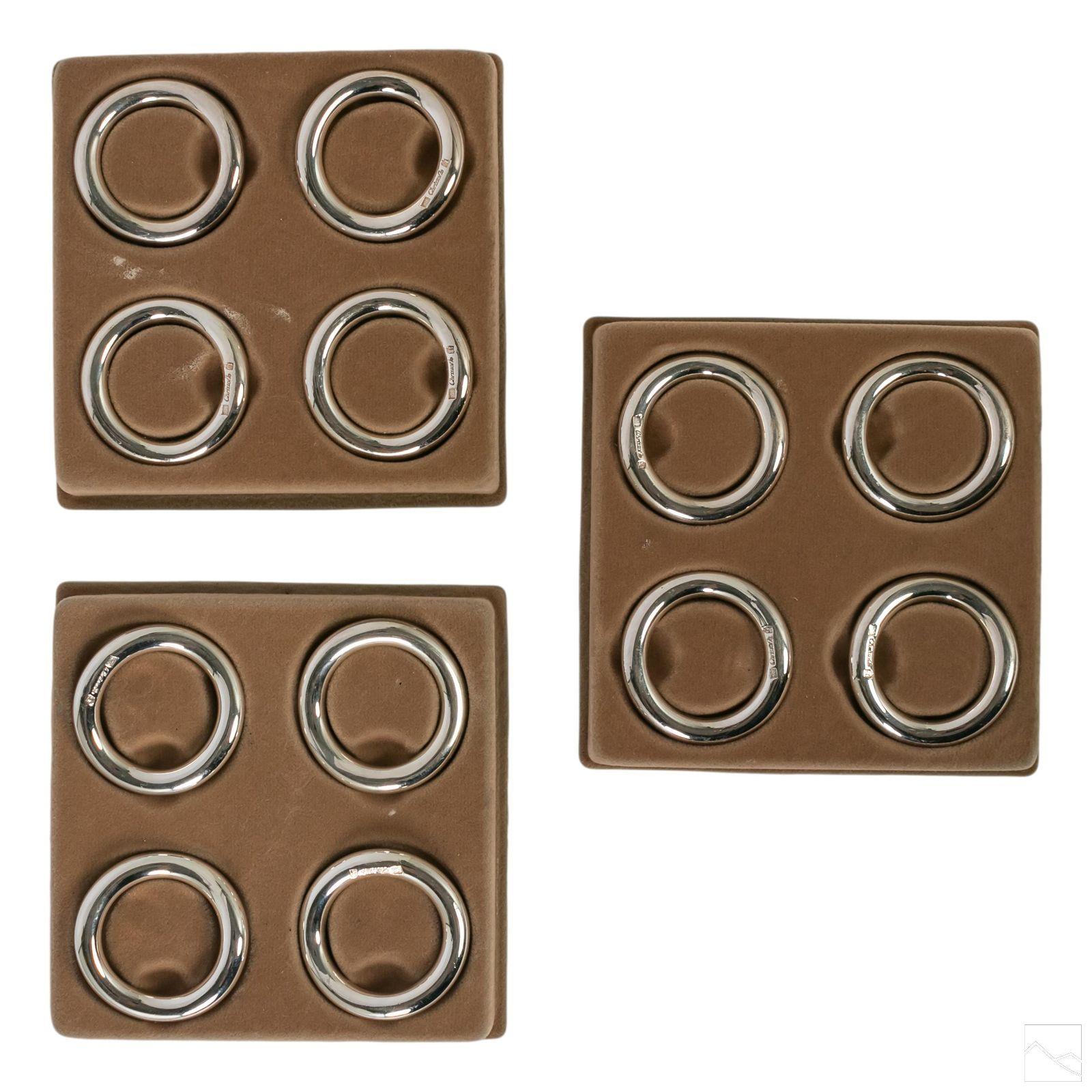 Christofle Vertigo Silver Plated Napkin Rings Set
