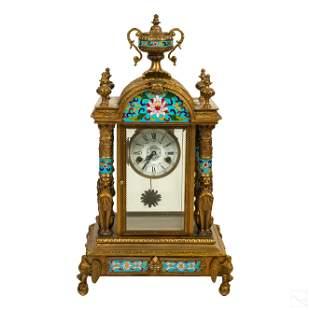 19th Century French Bronze Champleve Enamel Clock