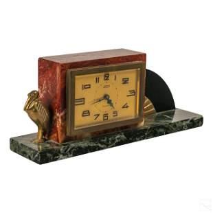 Art Deco Irving Tri Color Marble Bronze Desk Clock