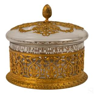 French Antique Cut Crystal Dore Bronze Lidded Box