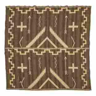 "Native American Navajo Indian 63"" Wove Blanket Rug"