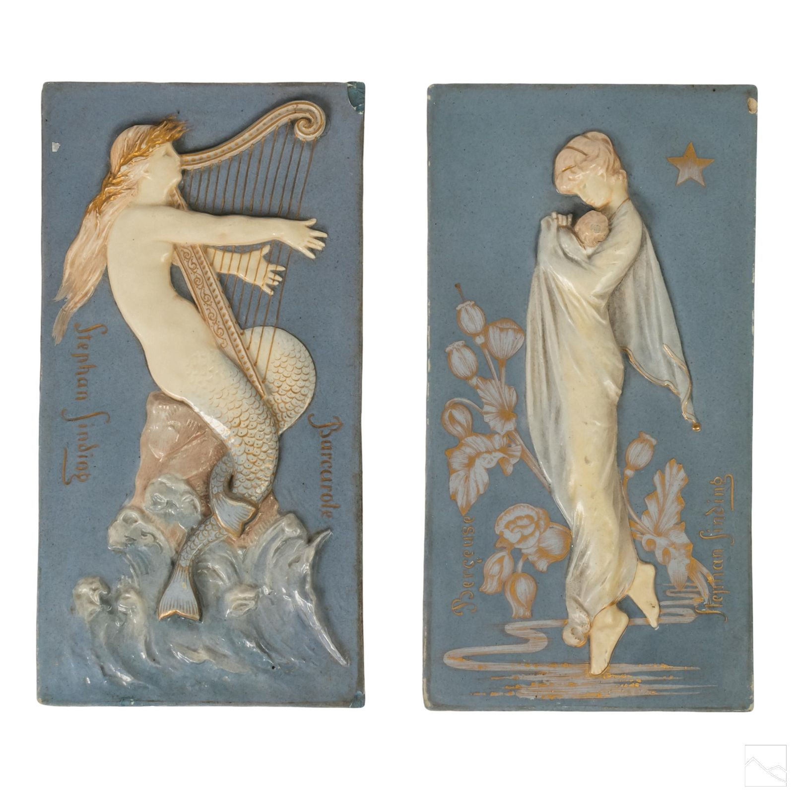 Stephan Sinding 1846-1922 Porcelain Relief Plaques