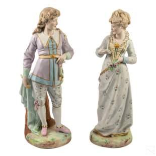 German Antique Bisque Porcelain Lovers Figurines