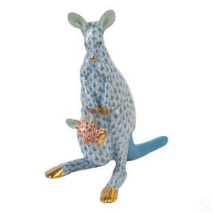 "Herend Blue Fishnet Porcelain Kangaroo 5"" Figurine"
