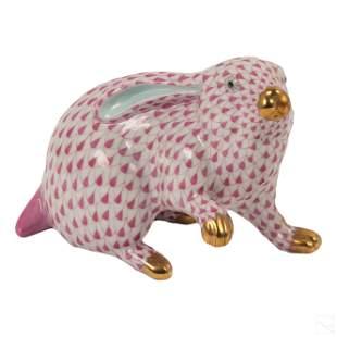Herend Pink Fishnet Porcelain Gilt Rabbit Figurine