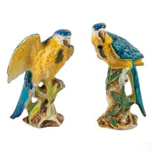 Italian Porcelain Wildlife Parrot Birds Sculptures