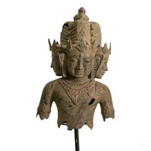 Indo Persian Temple Sized Bronze Vishnu Sculpture