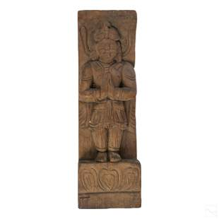 """Indo Persian Antique 14"""" Carved Wooden Deity Panel"""