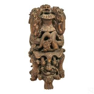 Chinese Carved Wood Dragon Pedestal Incense Burner