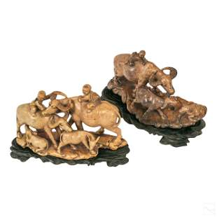 Chinese Carved Stone Children & Buffalo Sculptures