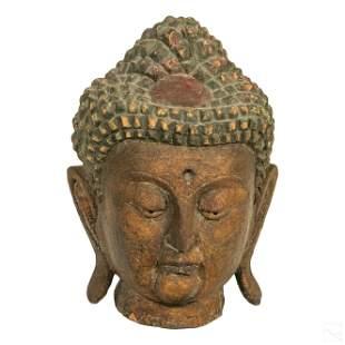 Chinese Tibetan Buddha Wooden Bust Head Sculpture