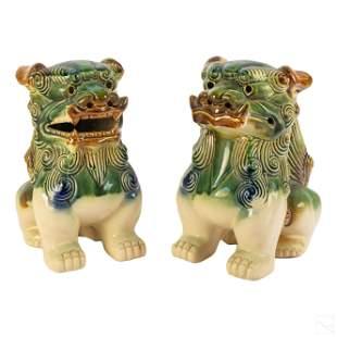 "Chinese Sancai Style Ceramic Foo Dog 9"" Sculptures"