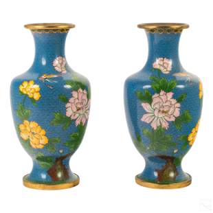 """Chinese Cloisonne Pink & Yellow 12"""" Floral Vases"""