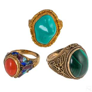 Chinese Silver Wire Filigree Gemstone Rings LOT