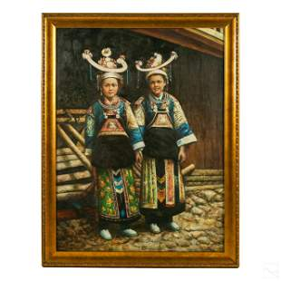 Chinese Realism Children Figural Portrait Painting