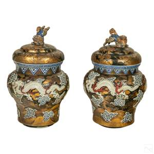 Japanese Meiji Era Lacquered Porcelain Dragon Urns